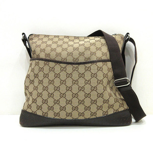 Gucci shoulder bag brown punching men gap Dis GG canvas X leather 145857 GUCCI