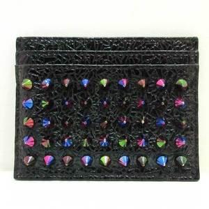 Christian Louboutin Card Case Metallic Multicolor Business Holder Pannetone Spike Studs Women's Men's Coated Leather ChristianLouboutin