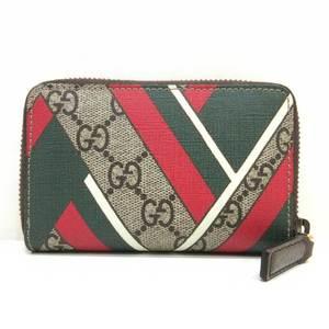 Gucci Card Case Business Holder GG Chevron Print Round Fastener Ladies Men Supreme 429232 GUCCI