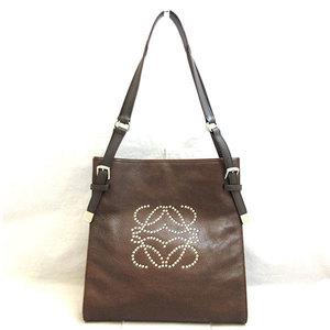 Loewe Bag Anagram Studs Shoulder Leather Brown Ladies LOEWE