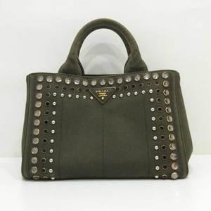 Prada Kanapa Green Military Tote Bag Hand Mini Small Triangle Logo Bijoux Studs Ladies Canvas B2439O PRADA