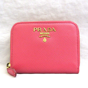 Prada Wallet Round Zipper Saffiano Coin Case 1MM268 Pink Ladies PRADA