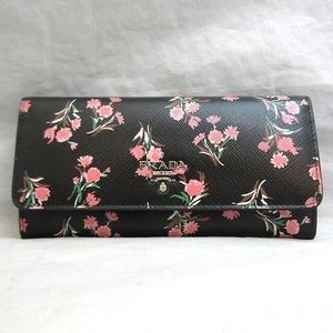 Prada Long Wallet Bi-fold Nero Black Multi Color Flower Print Ladies Saffiano 1M1132 PRADA
