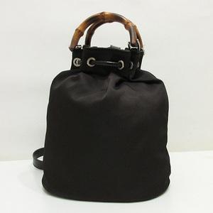 Gucci shoulder bag handbag brown bamboo one 2way ladies nylon x leather 003 2854 0060 5 GUCCI