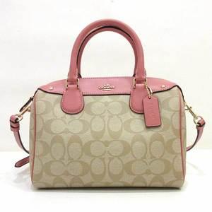 Coach Mini Bennet Satchel Beige x Boston Shoulder Bag Hand 2way Signature Ladies PVC Leather F58312 COACH