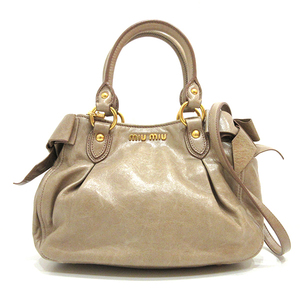 Miu Miu Miu handbag shoulder bag beige 2way side ribbon ladies leather miumiu