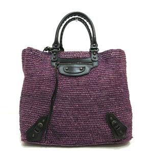 Balenciaga THE CLASSIC PANIER purple X black tote bag Lady's men straw raffia leather 259562 BALENCIAGA