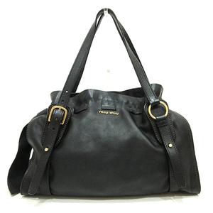 Miu Miu Miu Tote Bag Black Semi Shoulder Side Ribbon Ladies Calf MIUMIU