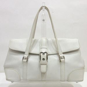 Coach Flap Satchel Handbag White Ladies Leather 9267 COACH