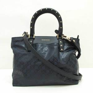 Geraldini Handbag Shoulder Navy Bahira Softy Studs 2way Ladies Polyester x Leather GHERARDINI