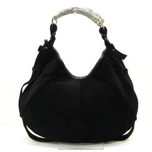 Yves Saint Laurent Mombasa Black Shoulder Bag One Semi Hand Silver Hardware Men Women Ladies Suede x Leather YVESSAINTLAURENT