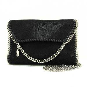 Stella McCartney Falabella Chain Shoulder Bag Black Silver Hardware Pochette Mini Ladies Faux Suede STELLAMcCARTNEY