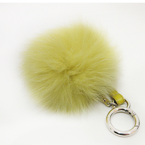 Fendi Bag Charm Yellow Key Ring Keychain Pompon Women's Men's Fox Fur 7AR259 FENDI