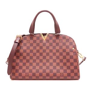 Louis Vuitton Bag Hand Shoulder Kensington Bowling 2way Damier Ebene Brown N41505 Ladies LOUISVUITTON