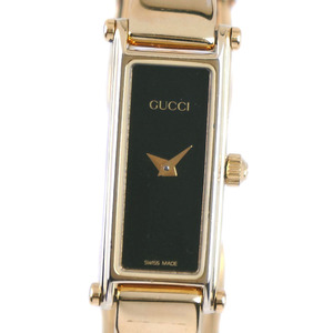 GUCCI Gucci 1500 Stainless Steel Gold Quartz Ladies Black Dial Wrist Watch