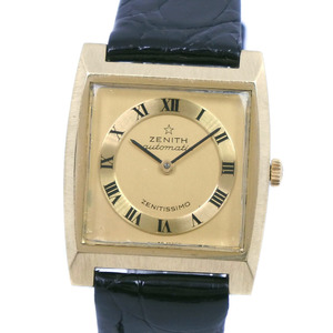 ZENITH ZENITISSIMO K18 yellow gold leather automatic winding men's dial watch