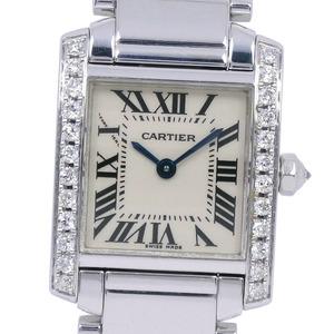CARTIER Tank Francaise SM After Diamond W50012S3 K18 White Gold Quartz Ladies Dial Wrist Watch