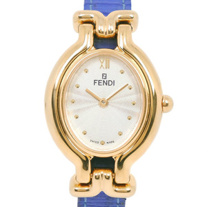 FENDI ORILOGO 640L Stainless Steel Leather Gold Quartz Ladies White Dial Wrist Watch