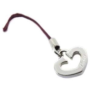 CARTIER C Heart Keychain Silver 925 Unisex Charm