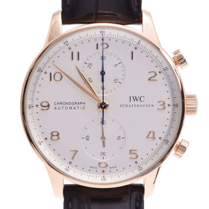 IWC Portugieser Chrono IW371480 Mens Rose Gold Leather Watch Automatic Silver Dial