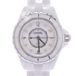 CHANEL Chanel J12 8P Diamond H2570 Ladies White Ceramic SS Watch Quartz Shell Dial