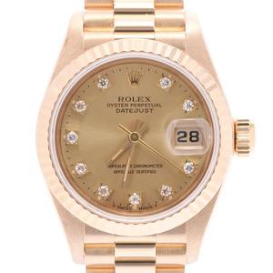 ROLEX Rolex Datejust 10P Diamond 69178G Ladies YG Watch Automatic Champagne Dial