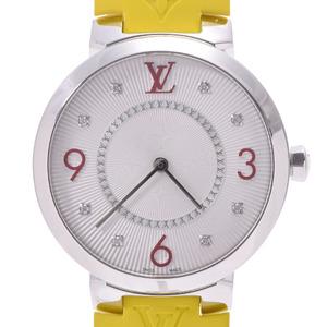 LOUIS VUITTON Louis Vuitton Tambour 8P Diamond Q13MJA Boys SS Rubber Wrist Watch Quartz Silver Dial