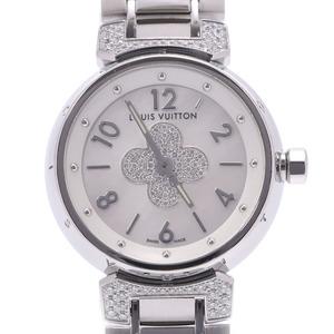 LOUIS VUITTON Louis Vuitton Tambour Forever Center Pav? Diamond Rug Q121P Ladies Steel Watch Quartz Shell Dial
