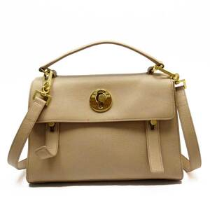 Saint Laurent handbag shoulder bag 2Way muse to pink beige gold leather canvas ladies h23951a