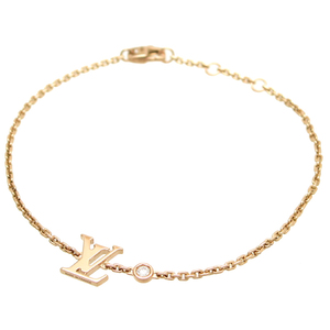 Louis Vuitton Brass Ray Deal Blossom LV 1P Diamond Ladies Bracelet Q95595 750 Pink Gold DH57086