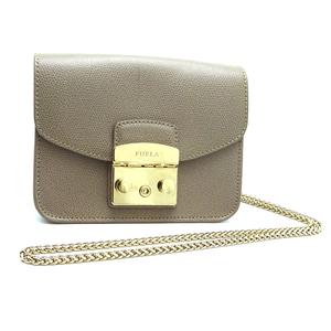 Furla Metropolis Chain Shoulder Ladies Bag Leather Gray Beige DH57252