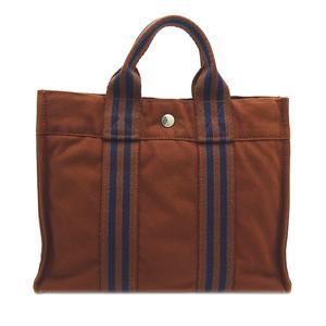 Hermes Fool Toe PM Ladies Handbag Cotton Canvas Brown DH57258