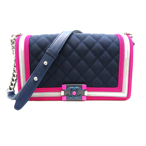 Chanel Boy Chain Shoulder Ladies Bag Leather Navy Pink Gray DH57226