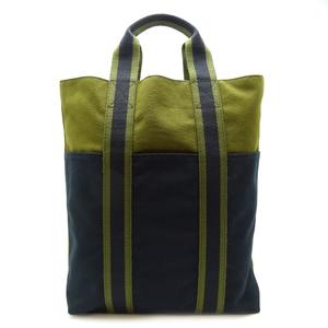 Hermes Fool Toe Cabass Ladies Tote Bag Cotton Canvas Khaki Black DH57183