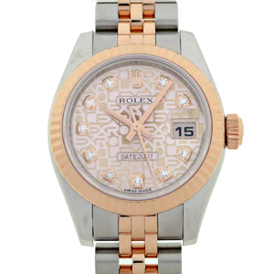 Rolex Datejust 10P Diamond G Number Ladies Watch 179171G Stainless Steel Pink Computer Dial DH57235