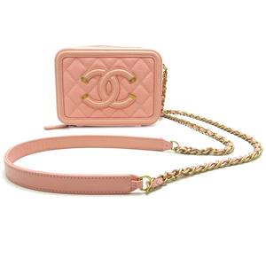Chanel Filigree Chain Shoulder Ladies Bag Caviar Skin Pink DH57228