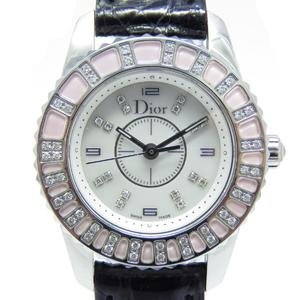 Dior Christian Crystal Diamond Shell Watch Quartz Stainless Steel SS Leather Belt CD112111