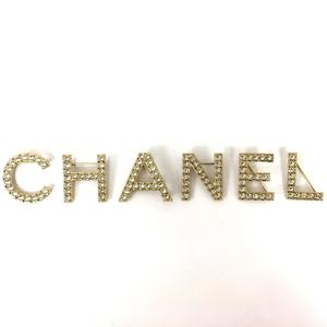 CHANEL Accessories Logo Brooch Ladies Rhinestone GP