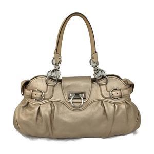 Salvatore Ferragamo Gancini Handbag Shoulder Bag Gold Lamb