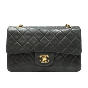 CHANEL Mattelasse W Flap Chain Shoulder Bag Black Lambskin