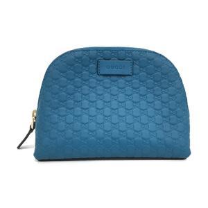 GUCCI Gucci makeup pouch blue leather 449893