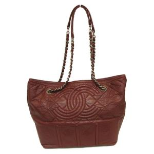CHANEL Chain Shoulder Tote Bag Red Leather