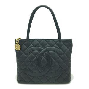 CHANEL Reprint Tote Ladies Bag Black Caviar Skin