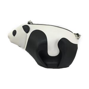 LOEWE Panda Mini Shoulder Bag White Black Leather