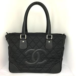 CHANEL Coco Mark Nylon Tote Bag Ladies Black