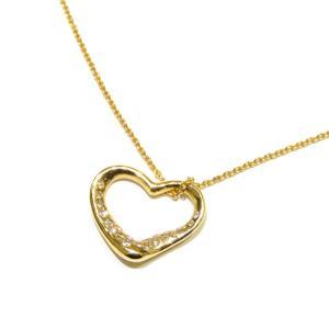 TIFFANY & CO Tiffany Open Heart Diamond Necklace Ladies K18YG 750 Yellow Gold