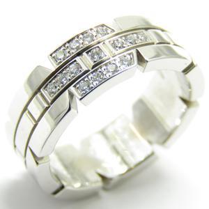 Cartier Tank Francaise Half Diamond Ring K18WG 750 White Gold # 49 No. 9