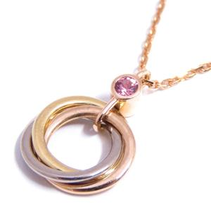 Cartier Trinity Necklace Ladies K18PG 750 Pink Gold Yellow White Sapphire