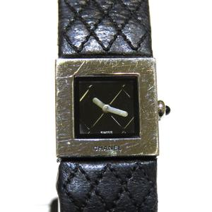 CHANEL Mattelasse Watch Ladies Quartz Stainless Steel SS Leather Belt