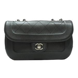 CHANEL Chain Shoulder Bag Ladies Black Caviar Skin